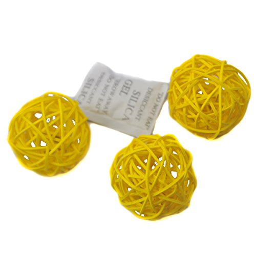 Ougual Set of 10pcs Wicker Rattan Balls Table Wedding Party Christmas Decoration (Diameter 5cm, Yellow) (Yellow And Vases Gray)