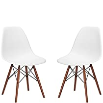 Poly and Bark Eames Style Molded Plastic Dowel-Leg Side Chair, White, Set of 2