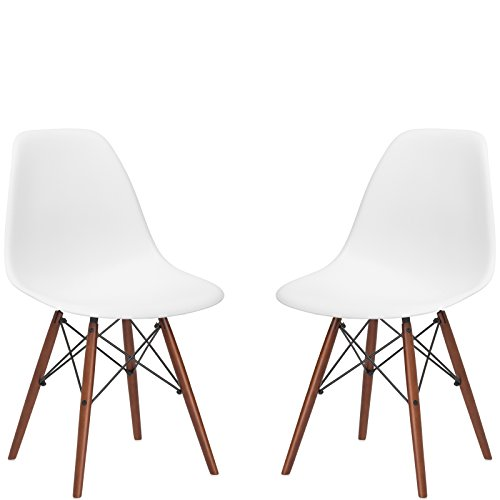 Poly and Bark Vortex Side Chair Walnut Legs, White, Set of 2 by Poly and Bark