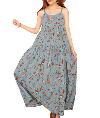 (YESNO Women Casual Long Maxi Dress Boho Summer Beach Slip Dresses Floral Print Large Loose Swing E75)