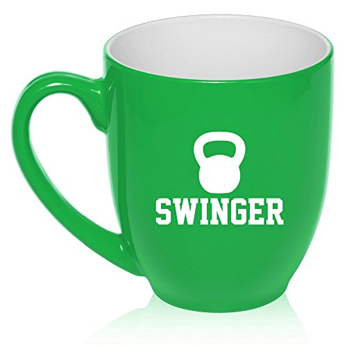 - 16 oz Large Bistro Mug Ceramic Coffee Tea Glass Cup Swinger Kettlebell Funny Workout Fitness (Green)