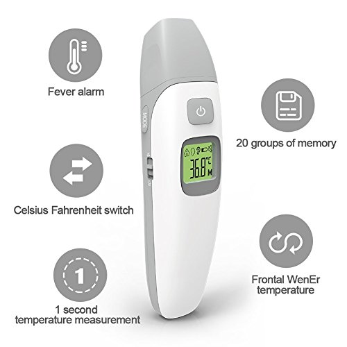 Ear Infrared Baby Thermometer and Clinical Non Contact Thermometer,Kids and Adults with Fever Indicator CE and FDA Approved JPD-FR408 by JAMPER