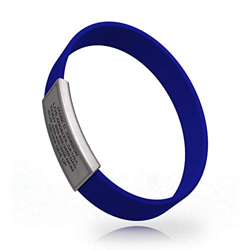 Road ID - Official ID Bracelet - The Wrist ID Stretch - 13mm Wide - Silicone Wristband - for Athletes - 5 Colors ()