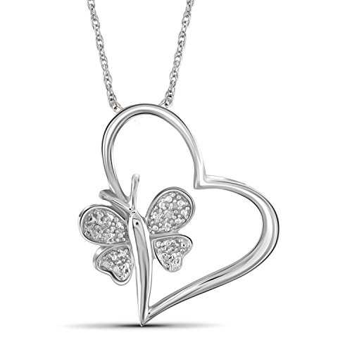 Jewelexcess White Diamond Accent Sterling Silver Heart And Butterfly Pendant