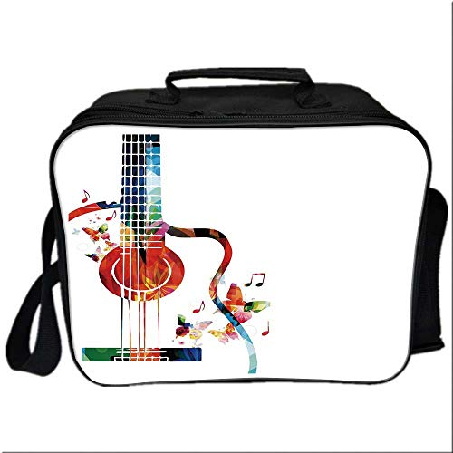 Guitar Lunch Bag Meal Bag,Colorful Polygonal Musical Instrument Strings Butterflies Nature Themed Elements for Kids Boys Girls,10.6