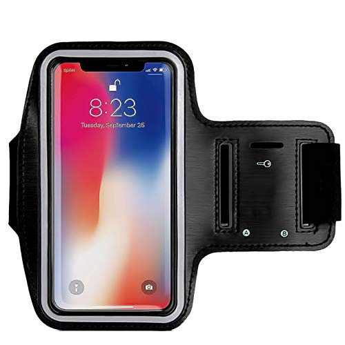 Armband for iPhone 8/8 Plus,7/6/6S Plus, Galaxy s8 s7 s6 Edge s8+,Note 5.etc.CaseHQ Adjustable Reflective Velcro Sport Exercise Running Pouch Key Holder,Screen Protector-Hiking,Biking,Walking(Black)