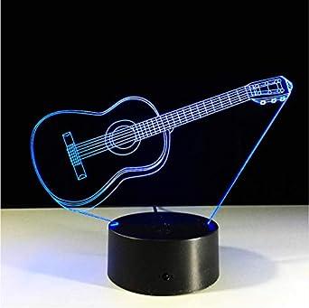 Guitarra Con Llavero Acrílico Luz Nocturna 3D Bebé 7 Color Chang ...