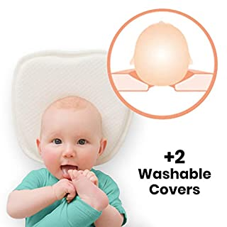 Baby Flat Head Shaping Pillow with 2 Washable Cotton Covers - Safe Infant Pillow to Prevent Flat Head with Neck Support.