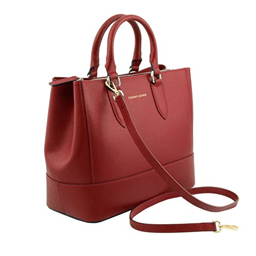 Nero Borsa Tuscany Leather Bag mano TL pelle Saffiano TL141638 a in Rosso OOBqR1xw