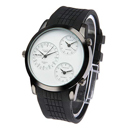 Fashion 3 Dial Quartz Wrist Calendar Watch with Silicone Strap Premium Quality (Color : White) by GuiPing