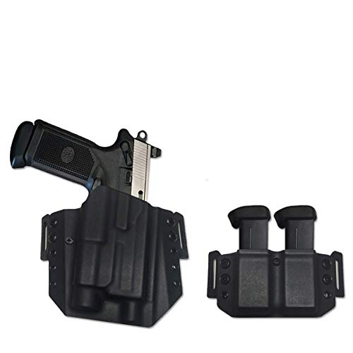 Elite Force Holsters: Kydex Holster Combo for FNx-45 Tactical FNX-T with Streamlight TLR1,S,HL & Dual Mag Carrier 45ACP OWB - Black, Right Hand
