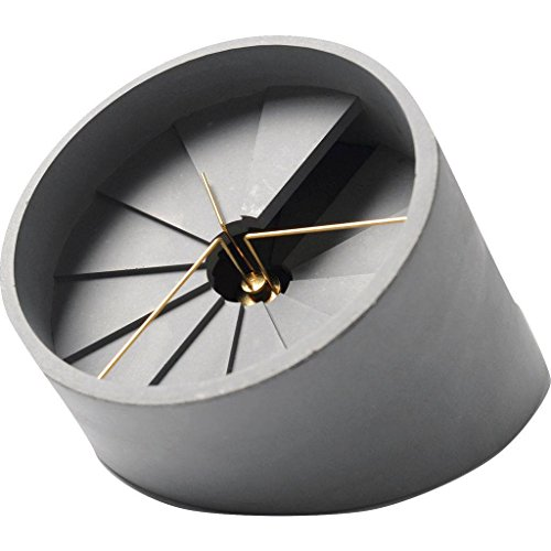 22 Design Studio 4th Dimension Concrete Desk Clock | Gold/Gray
