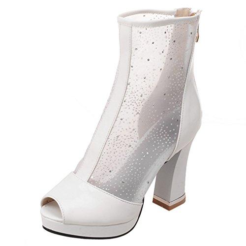 ENMAYER Womens Summer Breathble High Heeled Platform Boots White QnGbZPd7C