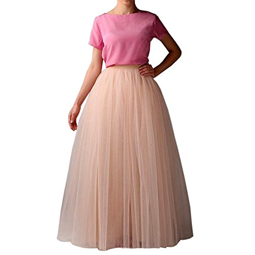 ng A Line Elastic Waist Tutu Princess Tulle Prom Party Skirt Coral 3XL (Ballerina Length Long Gown)