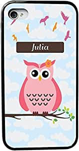Dominique Name - Cute Pink Owl on Branch with Personalized Name Design iPhone 4 & 4s Black Case Cover (Black Rubber with bumper protection) for Apple iPhone 4 & 4s sell on Zeng case