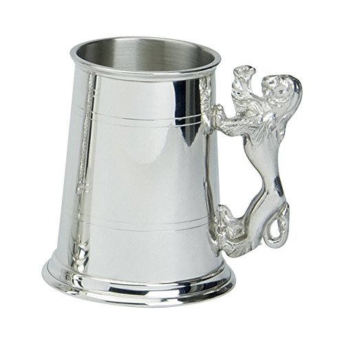 (Edwin Blyde & Co 1 Pint Tankard with Solid Metal Base-Two Lined Body with Lion Handle, Pewter 11 x 14.5 x 11 cm)
