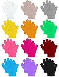 12 Pairs Kids Warm Magic Gloves Teens Winter Stretchy Knit Gloves Boys Girls Knit Gloves