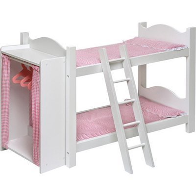 Badger Basket Doll Bunk Beds with Armoire and Ladder - White/Pink