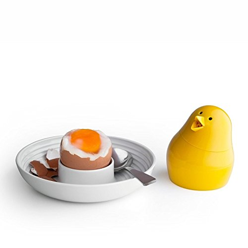 Jib-Jib Cool Egg Cup, Salt and Pepper Shaker Set by Qualy Design Studio. White Egg Tray and Yellow Spices Shaker. Unique Breakfast Accessory for Adults and Kids. Novelty Egg Cup.