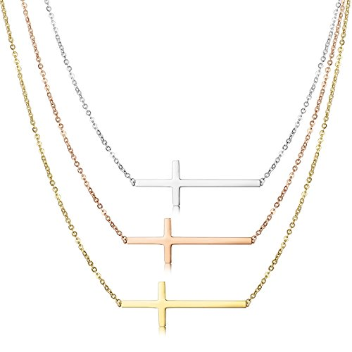 Jstyle Stainless Sideways Necklace Pendant