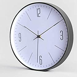 EMOON Modern Simple Wall Clock, Silent Non-Ticking - 12 Inch Accurate Sweep Movement Quartz Quiet Decorative Wall Clock Plastic Frame Glass Cover