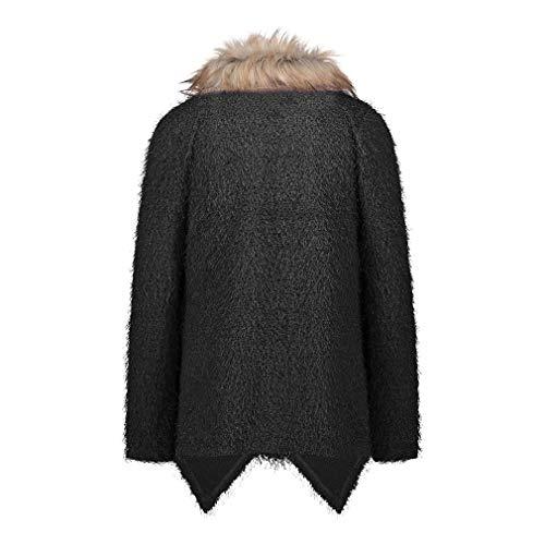Lavorato Inverno Cappotto Cardigan Maglione Collo Pelliccia A Allentata Di Donna Oversize Lungo Giacca Nero Yying Vento Moda Casual Maglia vOdHvw