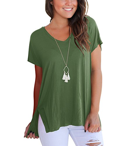Spandex V-neck Blouse (KUSMOO Women T Shirts Short Sleeve Cotton Blouse Tops Loose Fit Plus Size (Army Green, X-Large))