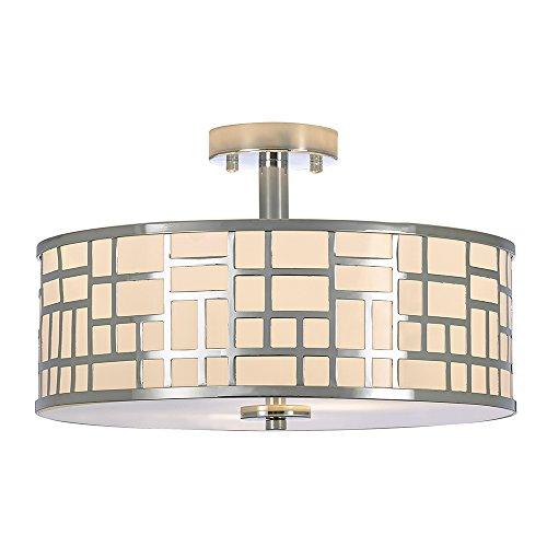 POPILION 16 Inch Modern Design Metal Chrome Finish Flush Mount Ceiling Light, Ceiling Lighting For Kitchen Dining Room Bedroom by POPILION