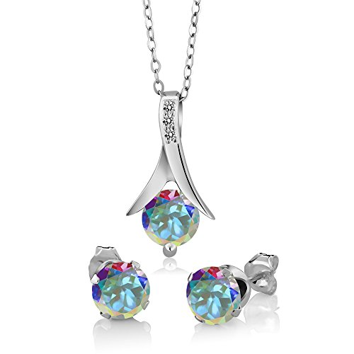 Mercury Topaz Set (3.05 Ct Mercury Mist Mystic Topaz White Diamond 925 Sterling Silver Pendant Earrings Set)