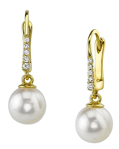 14K Gold 11mm White South Sea Cultured Pearl & Diamond Susan (14k White Gold Diamond Dangle Earrings)