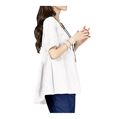 Xinvision Blouse Tops T 1 Casual Color White Style Shirt Ladies Short Pure Cotton Color Loose Sleeved Linen r6frzWcq
