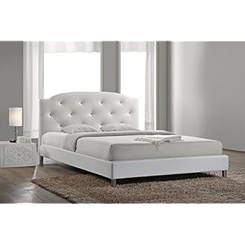 Amazon.com: Baxton Studio Canterbury Leather Contemporary Bed, Queen ...