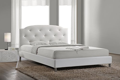 (Baxton Studio Canterbury Leather Contemporary Bed, Full, White)
