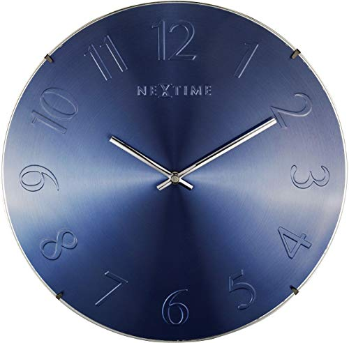 - NEXTIME Unek Goods Elegant Dome Wall Clock, Round, Glass, Metal Dial, Blue Metallic, Battery Operated