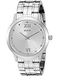 GUESS Womens U0634L1 Vintage Inspired Dressy Silver-Tone Watch