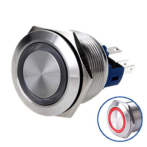 WerFamily Angel Eye Red LED 22mm Stainless Steel Round Metal Push Button Switch Momentary Type 1NO 1NC
