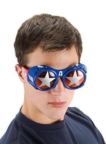 elope Marvel Men's Captain America Goggle Glasses, Red/Silver/Blue, One - Glasses English Brands