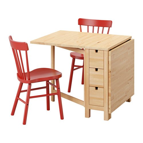 Ikea Table and 2 chairs, birch, red 6204.20514.3834