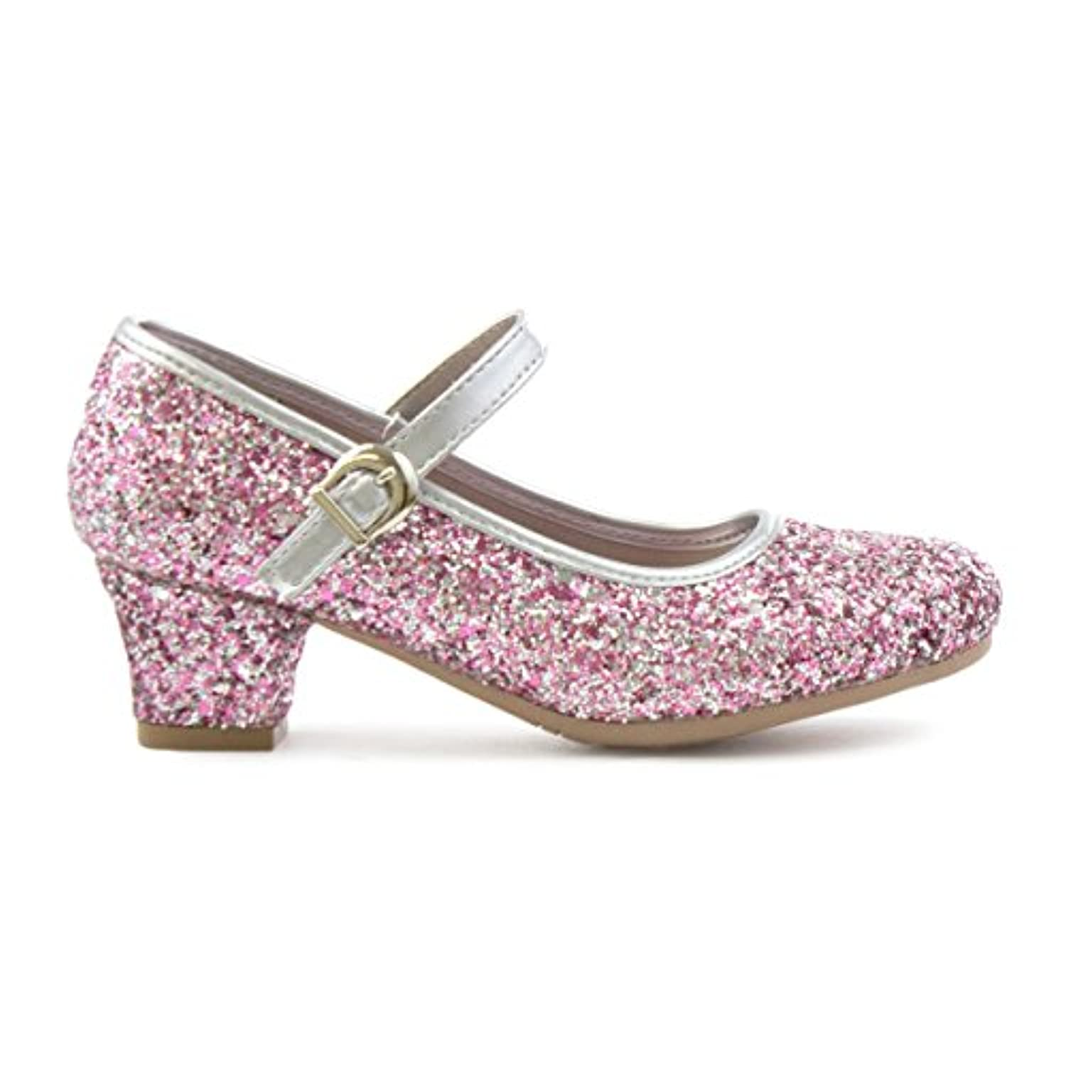 Lilley Sparkle Girls Silver and Pink Bar Shoe - Size 2 - Pink