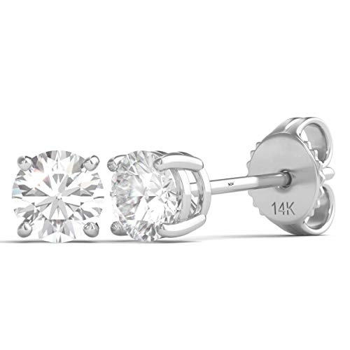 1/3 Carat TW Round Diamond Stud Earrings 14K White Gold with Push Backs AGS Certified (E-F, I1-I2) (0.33) ()