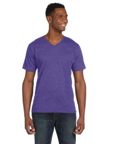 Anvil 100% Ring Spun Cotton V-Neck T-Shirt Heather Purple Large