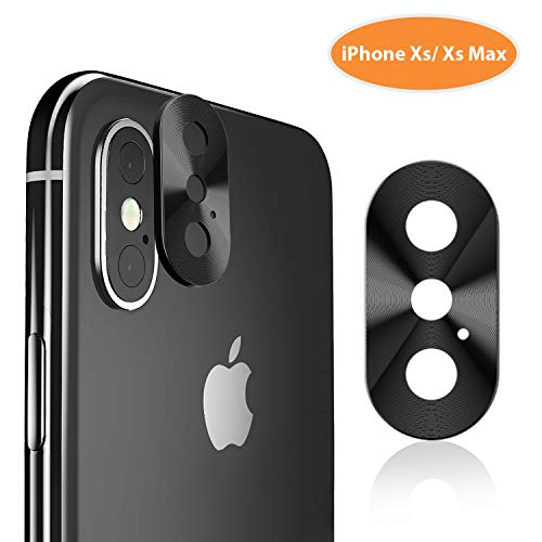 iPhone Xs Max Camera Lens Protector - TINICR Ultra Thin Metal [Not Glass] Back Rear Camera Lens Screen Cover Case Shield Compatible for iPhone Xs/Xs Max (2018), Black - Metal Case Camera