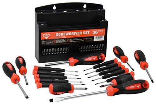 Texas Best Screwdriver Set | Chrome Vanadium Steel | Super Comfort Double Injected Soft Grip Handle (36 Pc)