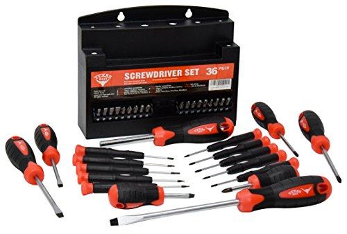 Best Precision Screwdrivers - Texas Best Screwdriver Set | Chrome Vanadium Steel | Super Comfort Double Injected Soft Grip Handle (36 Pc)