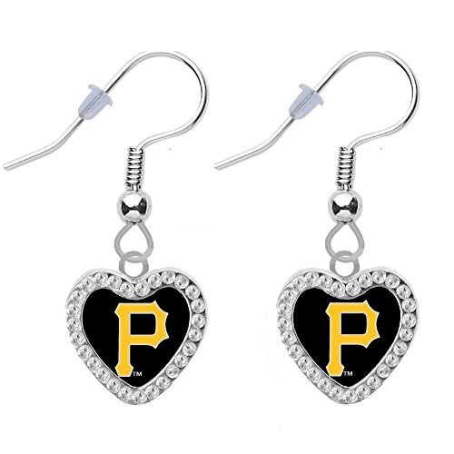 Pittsburgh Pirates Gift - Final Touch Gifts Pittsburgh Pirates Crystal Heart Earrings Pierced