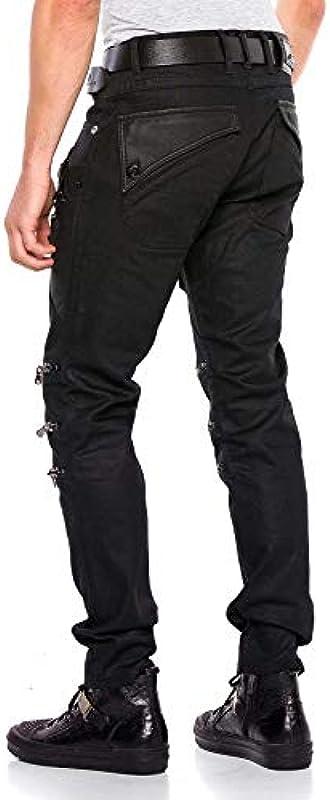 Cipo & Baxx dżinsy męskie Denim Biker spodnie Regular Fit zamek błyskawiczny design nowoczesne dżinsy spodnie czarne W30 L34: Odzież
