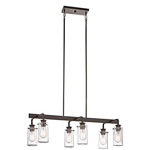 Kichler 43059OZ Six Light Linear Chandelier (Bronze Vintage Collection Tiffany Chandelier)