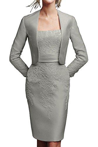 Braut Satin Schwarz Etuikleider Abendkleider Knielang Damen Spitze Marie Knielang Brautmutterkleider La Silber 5SOwqBXxnn