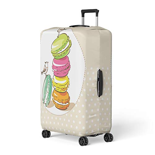 Pinbeam Luggage Cover Colorful Vintage Birds and French Dessert Macarons Party Travel Suitcase Cover Protector Baggage Case Fits 26-28 inches