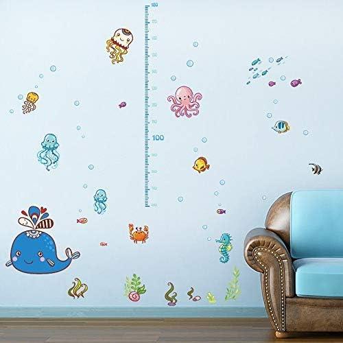Adesivo Murale Cartoon Altezza Del Bambino Creatura Del Mare Simpatico Delfino Polipetto Medusa Granchio Pesce Camera Dei Bambini Camera Da Letto Decorazioni Per Pareti Adesivo